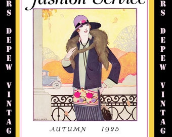 Vintage Sewing Autumn 1925 Fashion Service Magazine Dressmaking Ebook Featuring Hats & Dresses -INSTANT DOWNLOAD-