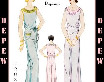 Vintage Sewing Pattern Reproduction 1930's Ladies' Pajama Set #2037 -INSTANT DOWNLOAD