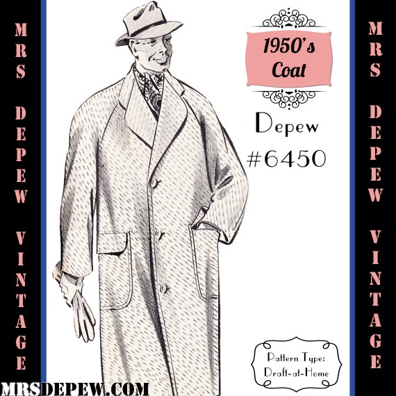 1950s Sewing Patterns | Dresses, Skirts, Tops, Mens 1950s Mens Raglan Sleeve Overcoat in Any Size Depew 6450 - Plus Size Included -INSTANT DOWNLOAD- $8.50 AT vintagedancer.com