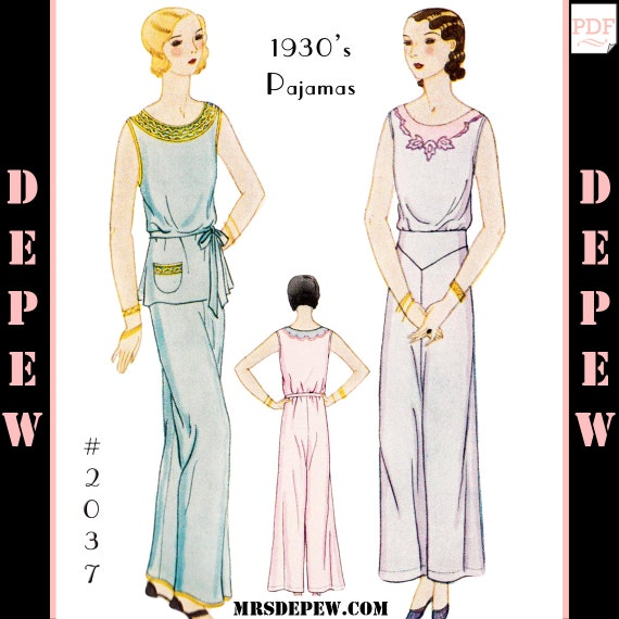 1930s Sewing Patterns- Dresses, Pants, Tops 1930s Ladies Pajama Set #2037 -INSTANT DOWNLOAD $9.50 AT vintagedancer.com