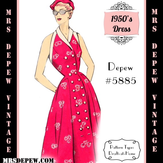 1950s Sewing Patterns- Dresses, Skirts, Tops, Pants 1950s Halter Dress & Cape Shrug in Any Size - PLUS Size Included - Depew 5885 -INSTANT DOWNLOAD- $8.50 AT vintagedancer.com