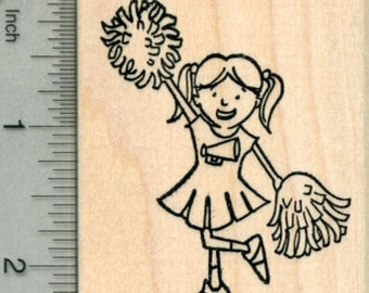 Cheerleader Rubber Stamp, Girl with Pom Poms J30108 Wood Mounted