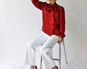 Vintage Oscar De La Renta Red Floral Damask Print Silk Satin Side Tie Blouse Size 8