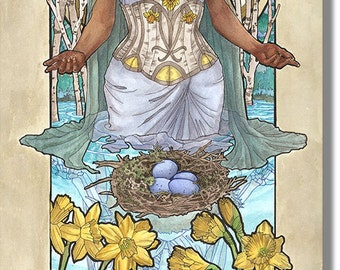 Art Print Lady of March with Daffodils, Stained Glass, and Veil Birthstone and Birth Flower Goddess Mucha Inspired Art Nouveau Painting