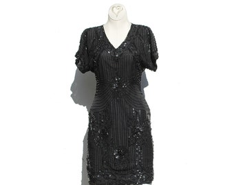Vintage Black Silk Beaded Cocktail Dress