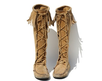 Vintage Tan Suede Leather Moccasin Tall Fringe Lace Boots / size 7.5