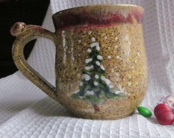 Vintage Look Mug with Thumb Rest Wheel Thrown Stoneware Pottery