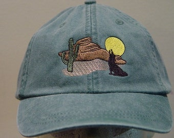 DESERT CACTUS SUNSET Hat - One Embroidered Wildlife Cap - Price Embroidery Apparel - 24 Color Caps Available