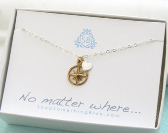 Friendship Gift • North Star & Heart Necklace • BFF Gift • No Matter Where • Long Distance Friends • Mother Daughter Necklace • Sisters
