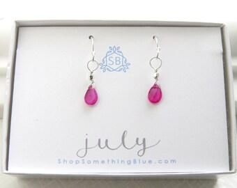 July Birthday Gift • Genuine Pink Ruby Earrings • Faceted Ruby Birthstone • Pink Gemstone • July Birthstone • Simple Earrings