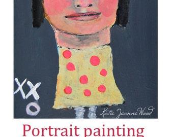 Acrylic Girl Figure Painting. Pink Polka Dots. xxo Kiss Kiss Hug. Fun Child's Room Wall Art.