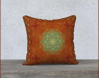 Boho Style Mandala Pillow Cover in Rust Brown and Green