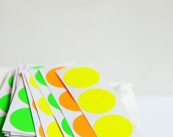 Circle Stickers {1.0inch or 25mm} Neon Envelope Seals {20} Contemporary Wrap DIY Supplies Children Party Favours Loot Bags