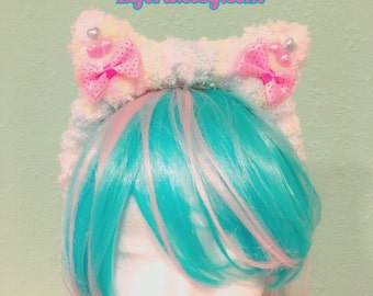 Fairy Kei Pastel Rainbow Kitty Ears And Bows Fluffy Sweet Lolita Headband