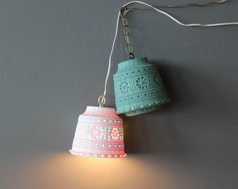 Pair of Hanging Lamps Bohemian Light Up Pendant Lights Lawnware. Perfect for a Kids Room.