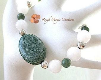 Green White Bracelet, Sterling Silver, Gemstone Bracelet, Light Dark Green Tree Agate, Snowy Snow Quartz, Moss Agate Semi Precious Stone