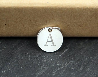 Sterling Silver Engraved Initial Tag 10mm (CG8087-EN)