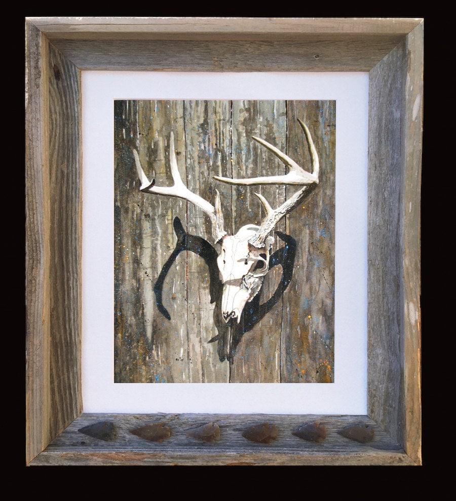 Deer Antlers Arrowheads And Skull Art Matted Print Barnwood