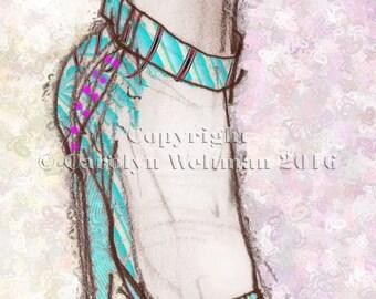 Hand Decorated Shoe Illustration - Ms. Cindy's Blue Shoe