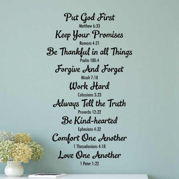 Love Quotes Bible Based : Wall Quote Decal Bible Family Rules Religious  Verse