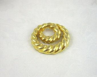 Vintage Goldtone Circle Brooch Pin