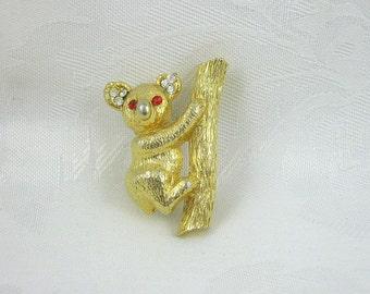 Vintage Koala Brooch M.J. Enterprises Rhinestone Crystal Goldtone Restored