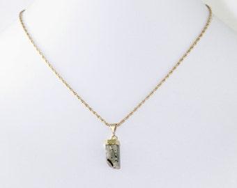 Raw Aquamarine Point Pendant Aquamarine Necklace Raw Stone Aquamarine Crystal Pendant One-of-a-Kind Stone Necklace Gold Top Aqua-P-101-013g