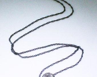 Pavé Diamond Necklace Real Diamondt Necklace Genuine Diamond Necklace Oxidized Silver April Birthstone Precious Diamond Necklace PD-N-103-os