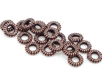 100 Antique Copper Beads Copper Twisted Coiled Rope Rings by TierraCast - Copper Bali Beads for Leather Large Hole Beads (PS128)