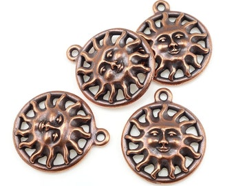 Antique Copper Charms Copper Sun Charms TierraCast Sunshine Smiling Sun Face Summer Charms Celestial Charms for Jewelry Making (P1000)