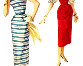 1950s Dress Pattern Simple Sheath Dress Vintage Simplicity Sewing Women's Misses Size 14 Bust 32 Inches NO BLOUSE