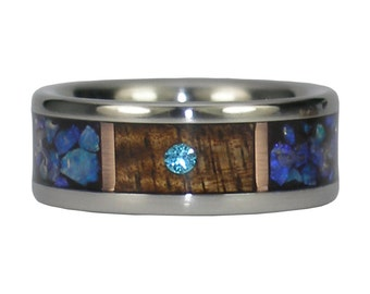 Blue Opal Diamond Ring with Koa Wood and Rose Gold