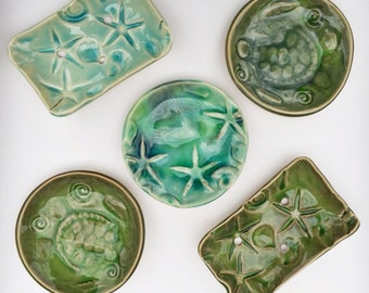 Sea turtle Soap Dish: nautical sea green tortuga beachy decor Ring Bowl handmade pottery tide pool ceramic