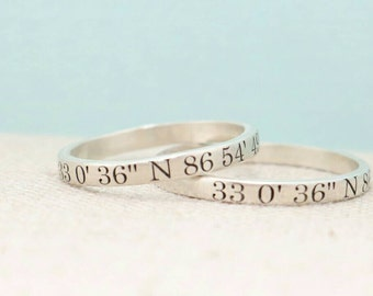 Custom Coordinates Jewelry - Travel Gift -  Personalized Ring  -  Coordinates Ring  - Engraved Ring