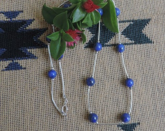 """Tin Cup Necklace, Sodalite  with Liquid Silver,  17"""" Long"""