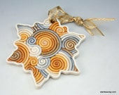 Snowflake Christmas Ornament in Silver and Gold Fimo Filigree