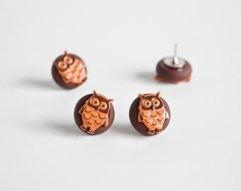 Woodland Owl Push Pins. Kitchen, School or Home Office Organization for Bulletin Boards. Handmade in Brown Polymer Clay. Gift Set of 4