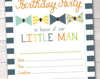 Instant Download Little Man Birthday Party Invitation / Printable Boys Birthday Party Invite / Bowtie Birthday Invitation