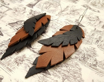 Leather Feather Dangling Hoop Earrings, Boho Chic, Earth Tones