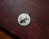 sterling silver white enamel neillo siamese pendant - vintage enamel siam jewelry