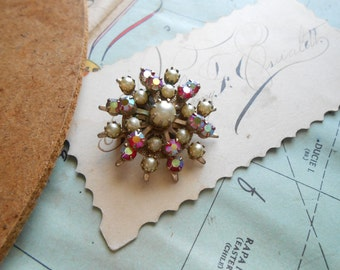antique rhinestone and pearl brooch - pearls and AB rhinestone pin costume jewelry