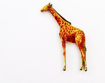 1960s Giraffe Brooch - Pin / Unique Gift Under 50 / Upcycled Vintage Hand Cut Wood Jewelry / Tan & Brown Wood Jungle Animal