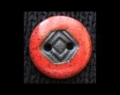 Handmade Ceramic Button: Black Volcanic Clay & Hot Red