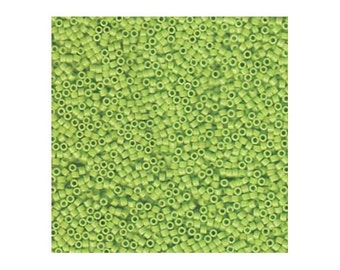 Miyuki Delica Beads 11/0 Japanese Seed Beads DB733 (7.2g), Chartreuse Green Opaque Delica Seed Bead, Glass Seed Bead, Cylinder Glass Beads