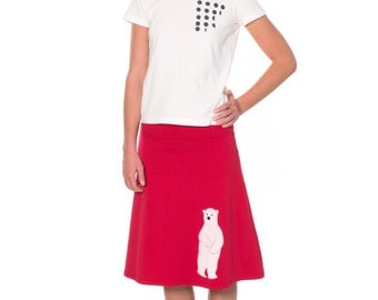 Women Red Cotton Skirt, Midi A-line Skirt, Fold Over Knee Length Applique Skirt - Sweet Polar Bear