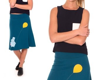 Jersey knit skirt, Plus size apllique skirt, Pull on a-line Cotton knee length skirt, Midi skirts size XL/2XL/3XL - Happy hippopotamos