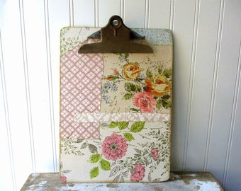 Upcycled clipboard vintage wallpaper pink rose floral shabby embellished Photo display vintage office organizer
