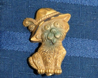 SALE Antique Dog Brooch/ Funny Terrier in Hat Child's Pin/ Early Plastic Kids Jewelry