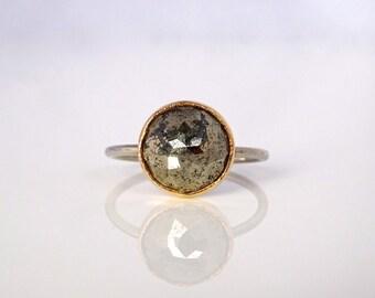 Custom Round Gemstone Stacker Ring, Handmade Recycled Gold & Silver, Your choice of gemstone, Aquamarine, Aquachalcedony, Citrine.....