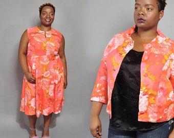 Plus Size Vintage Dress Suit // 1960's Handmade Dress & Jacket // XXL